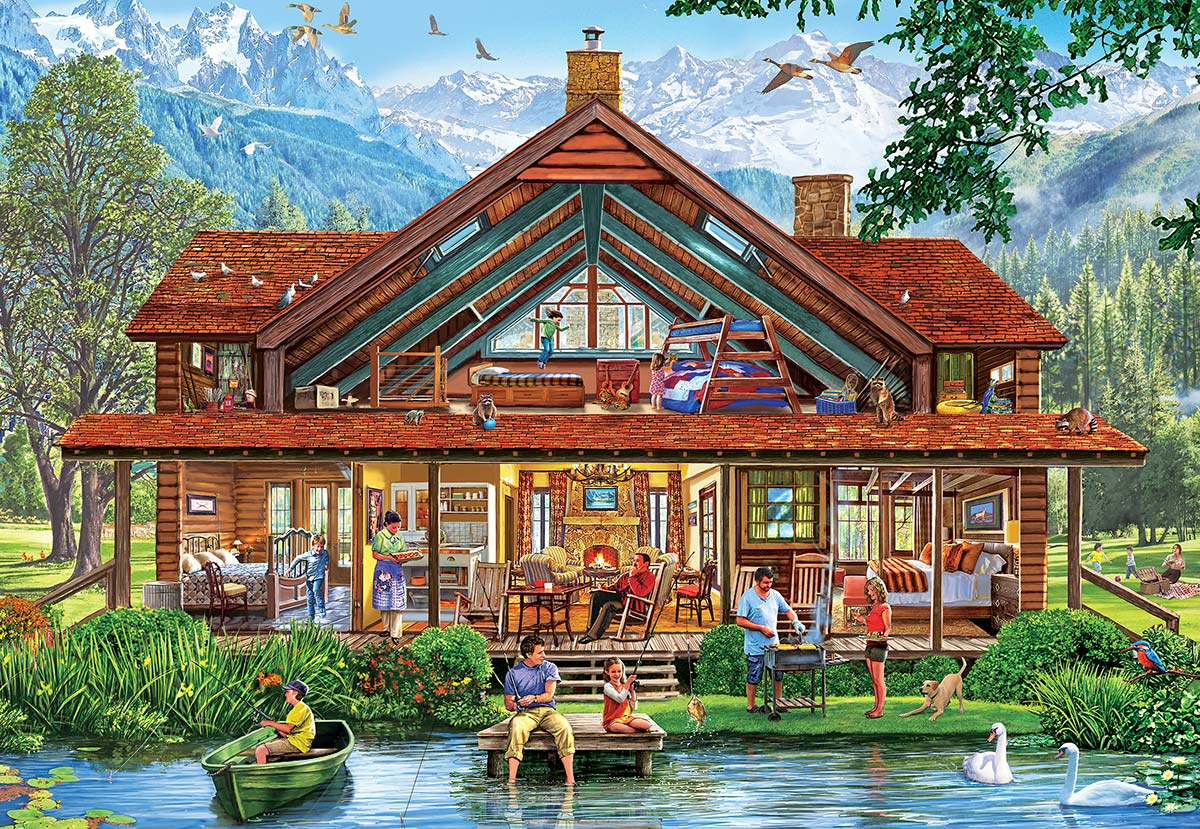 Camping Lodge - Scratch and Dent Lakes / Rivers / Streams Jigsaw Puzzle