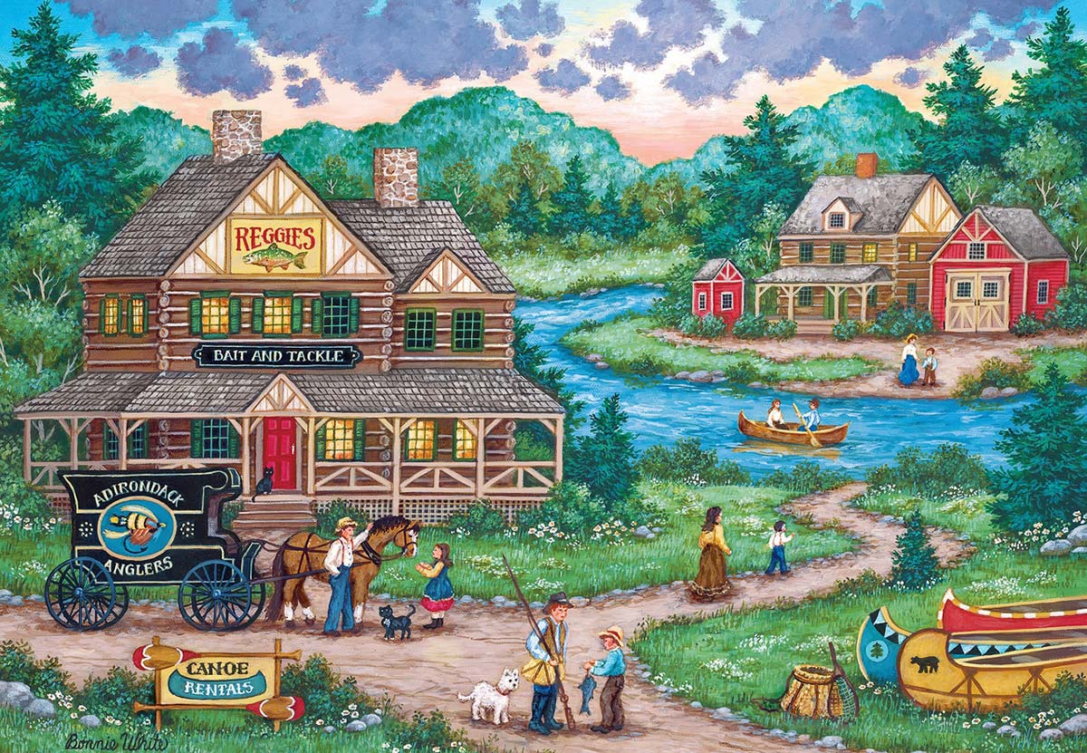 Adirondack Anglers Landscape Jigsaw Puzzle