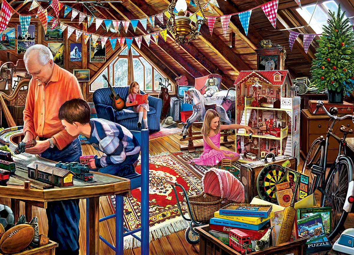 Playtime in the Attic Domestic Scene Jigsaw Puzzle