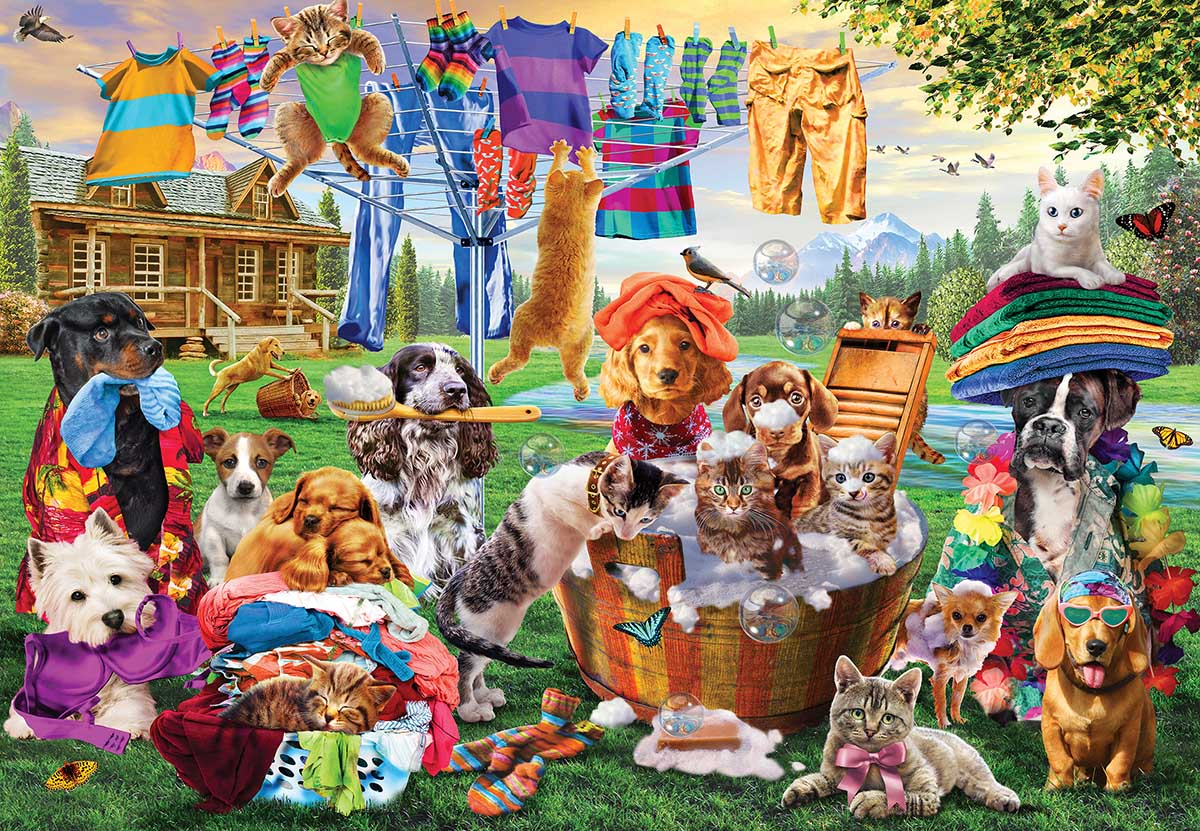 Laundry Day Rascals Cats Jigsaw Puzzle