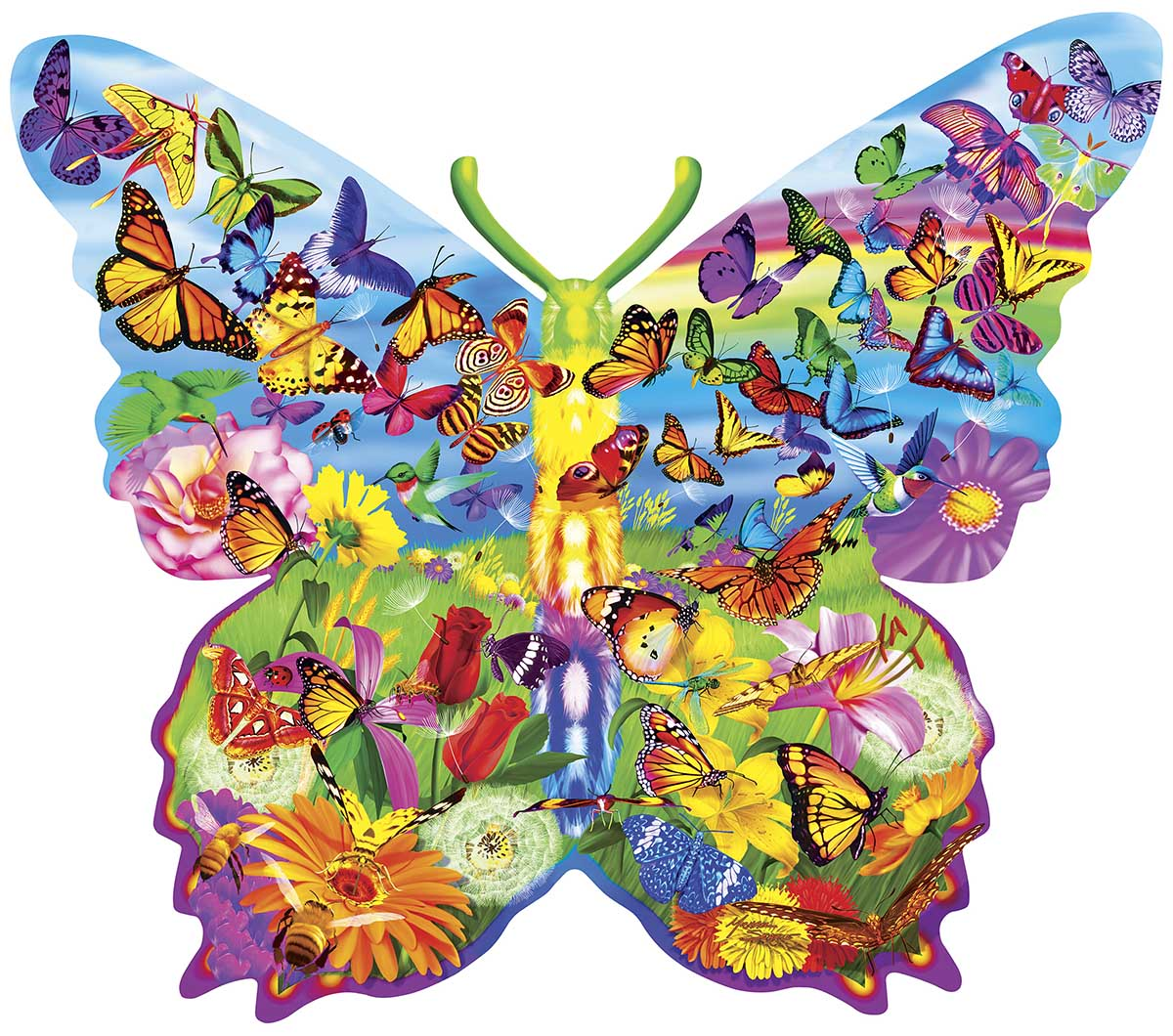 Butterfly Butterflies and Insects Shaped Puzzle