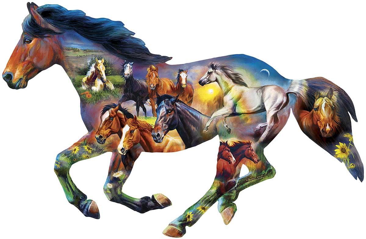 Wild Horse Horses Shaped Puzzle