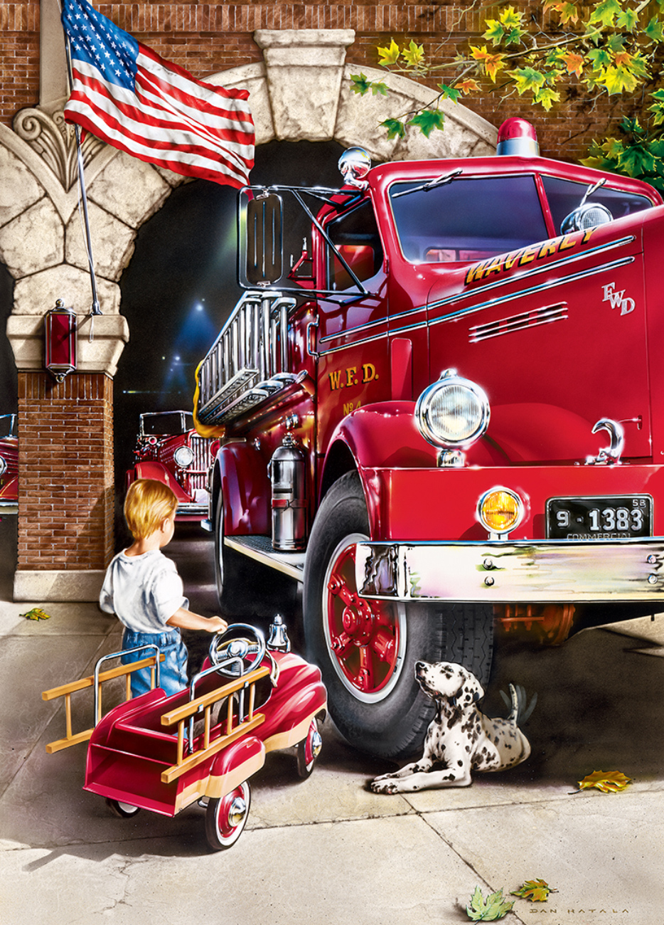 Firehouse Dreams Americana & Folk Art Jigsaw Puzzle