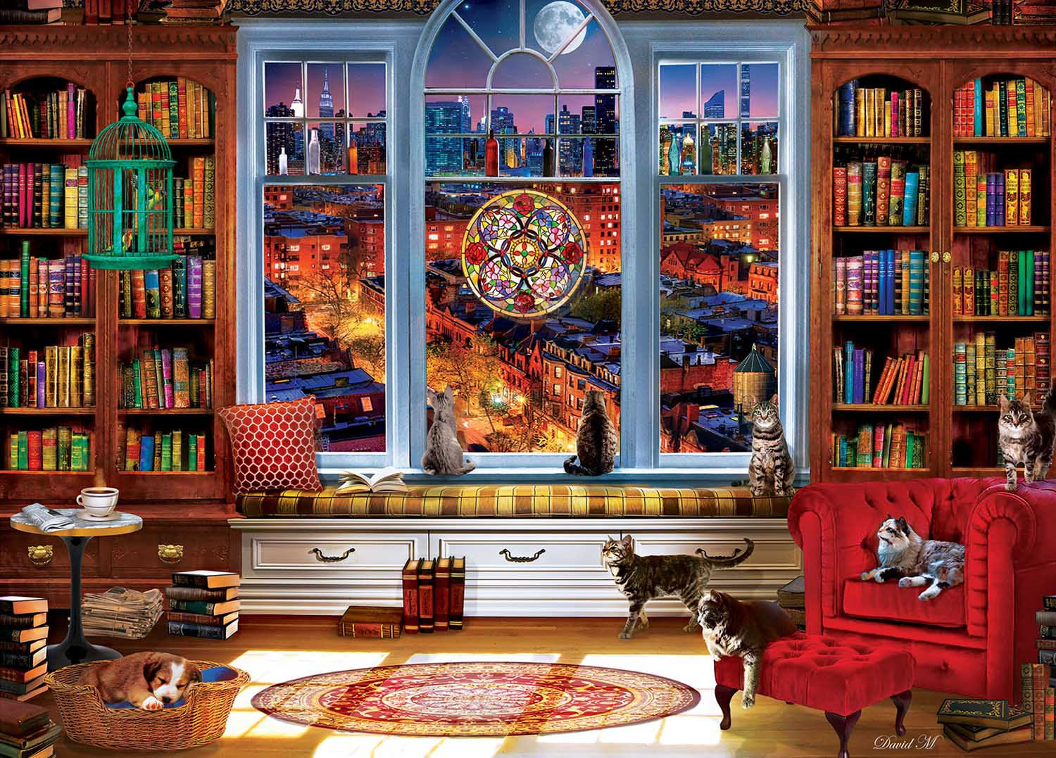 Downtown City View Street Scene Jigsaw Puzzle