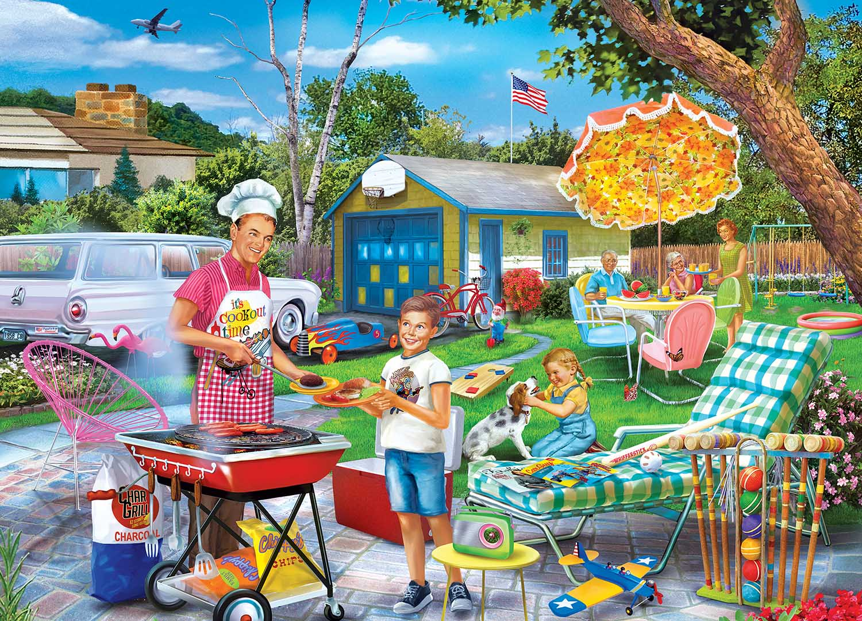 Backyard BBQ Domestic Scene Jigsaw Puzzle