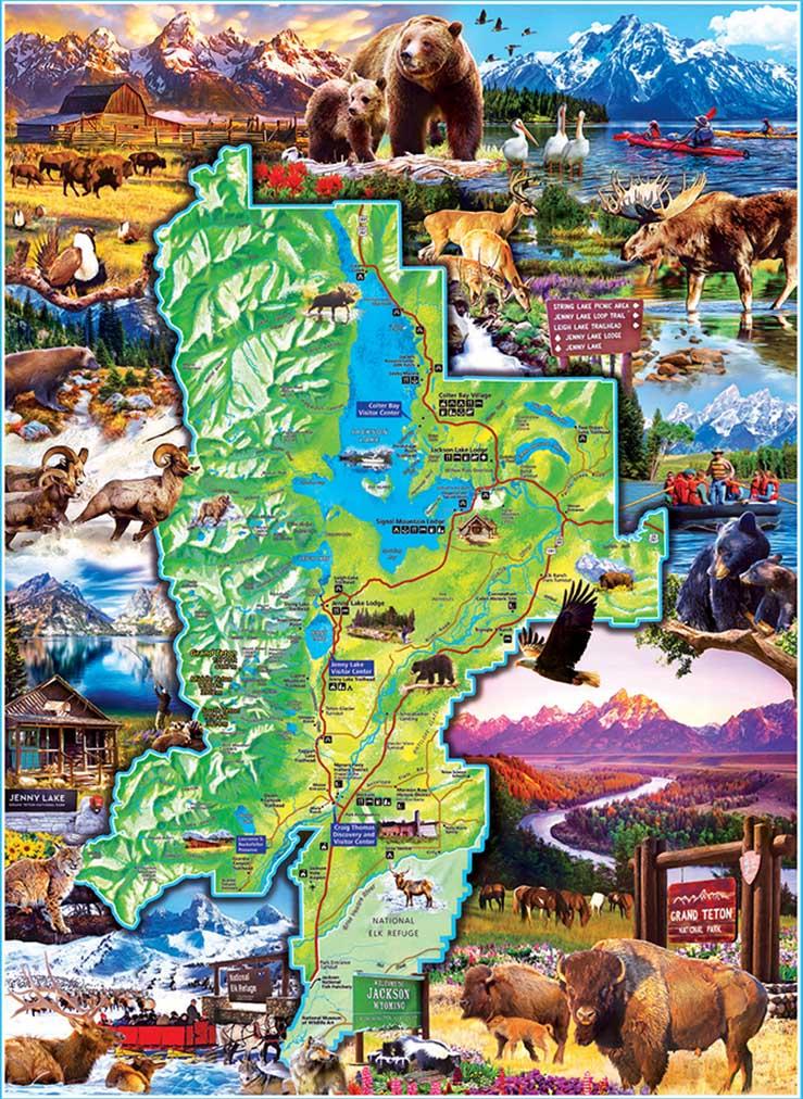 Grand Teton Maps / Geography Jigsaw Puzzle