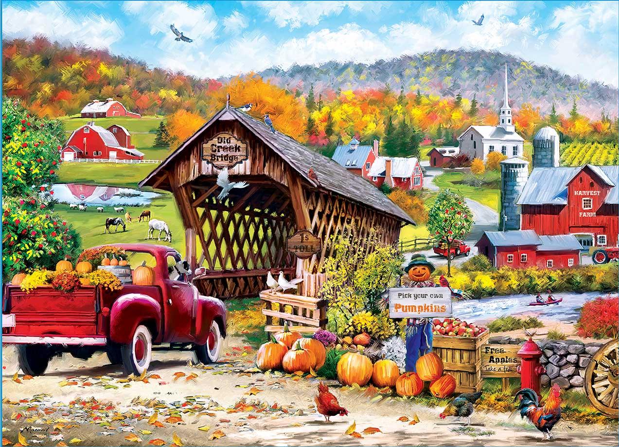 Old Creek Bridge Farm Jigsaw Puzzle