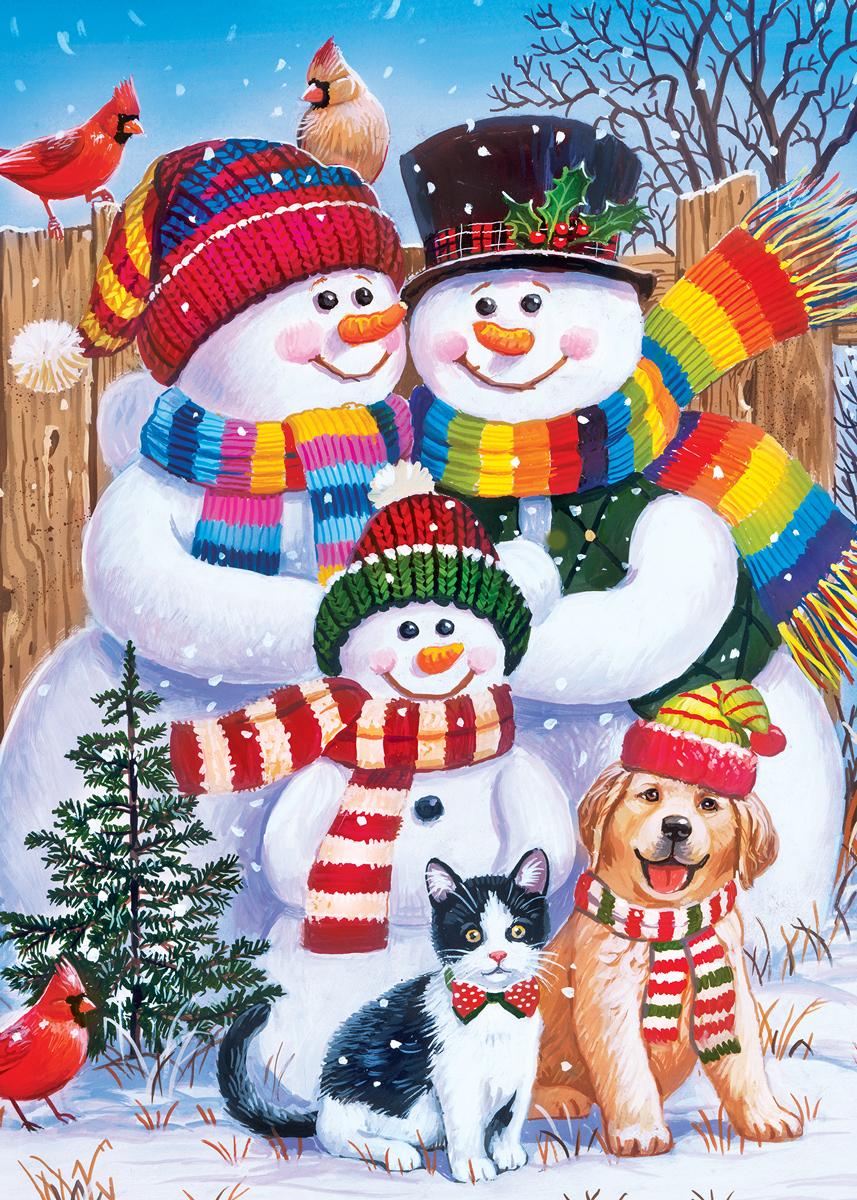 Family Portrait Snowman Glitter / Shimmer / Foil Puzzles