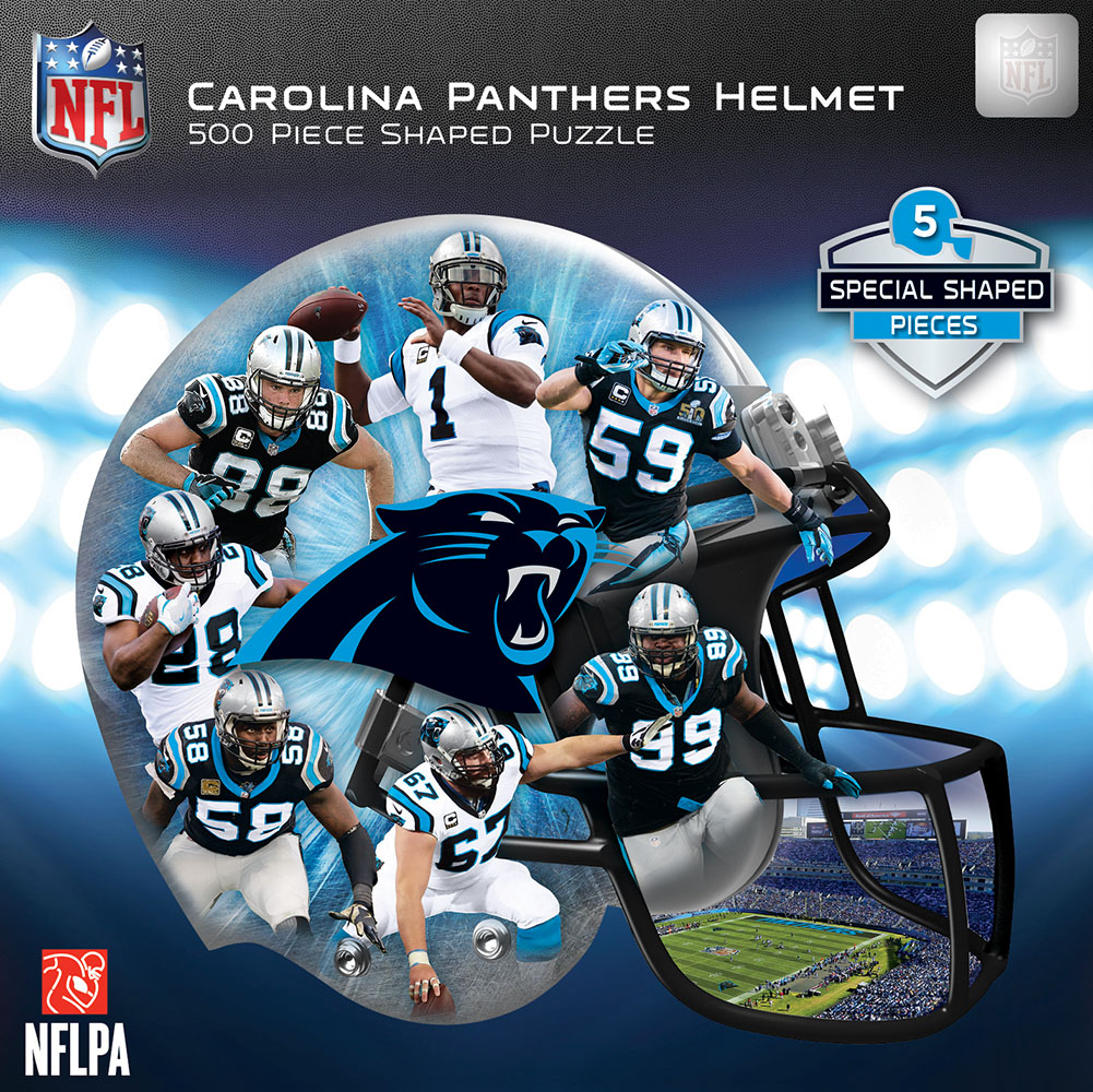 Carolina Panthers Helmet Shaped Puzzle - Scratch and Dent Sports Shaped Puzzle