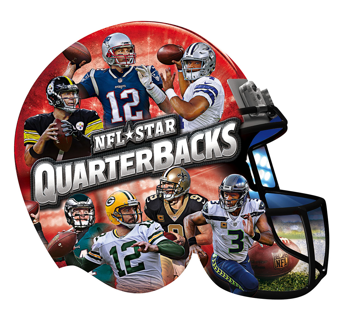 NFL Star Quarterbacks 500pc Helmet Shaped Puzzle Sports Shaped Puzzle