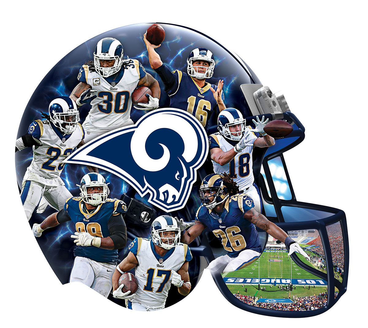 Los Angeles Rams 500pc Helmet Shaped Puzzle Sports Shaped Puzzle