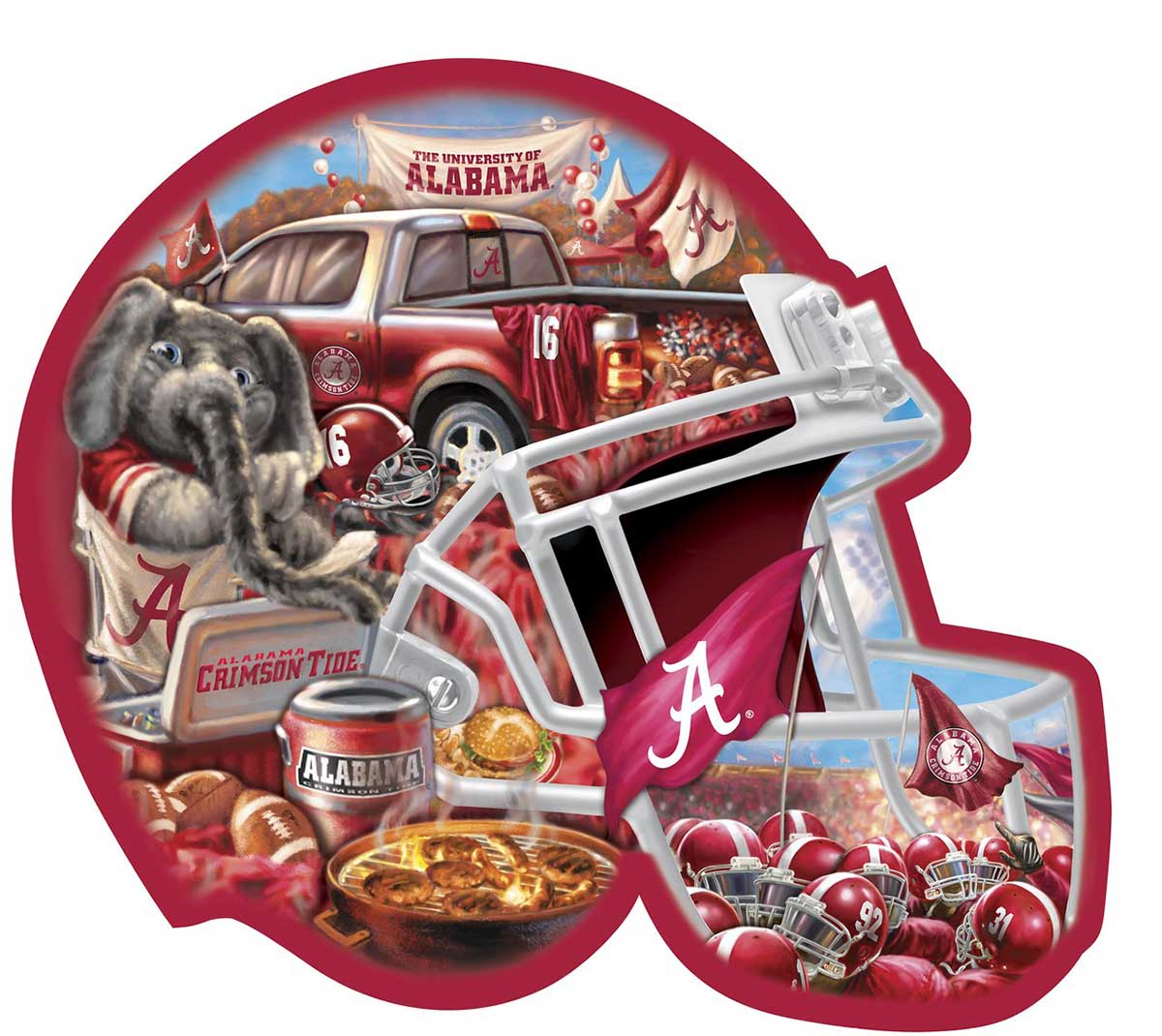 Alabama Helmet Shaped Puzzle - Scratch and Dent Sports Shaped Puzzle