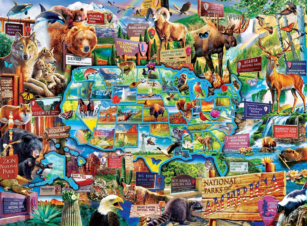 National Parks Map Wildlife Jigsaw Puzzle
