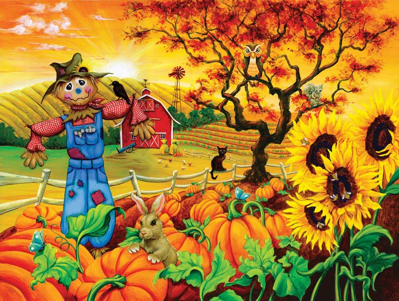 Scarecrow and Friends Countryside Jigsaw Puzzle