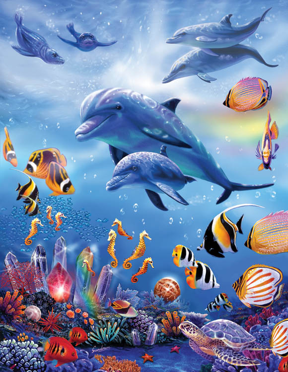 Seahorse Kingdom Dolphins Jigsaw Puzzle