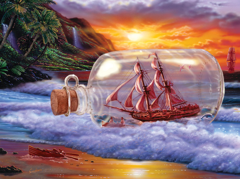 A Ship at Sea Beach Jigsaw Puzzle