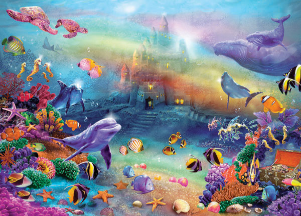 Fantasy Sandcastle Dolphins Jigsaw Puzzle