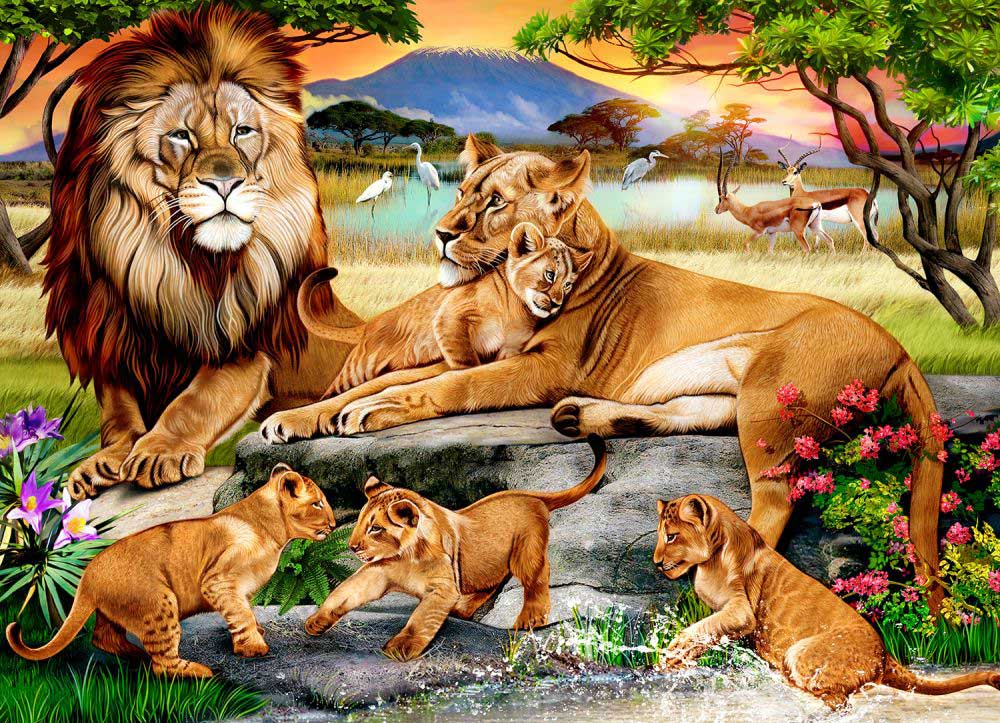 Lion's Family in the Savannah Lions Jigsaw Puzzle