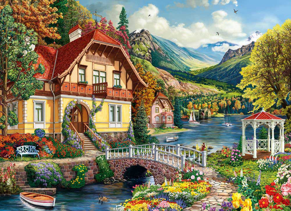 House by the Pond Landscape Jigsaw Puzzle