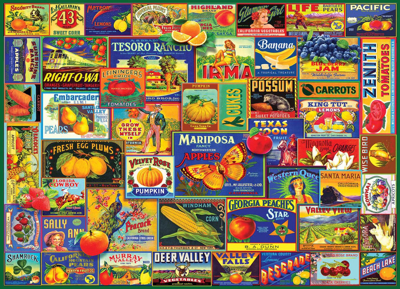 Fruits & Veggies Nostalgic / Retro Jigsaw Puzzle