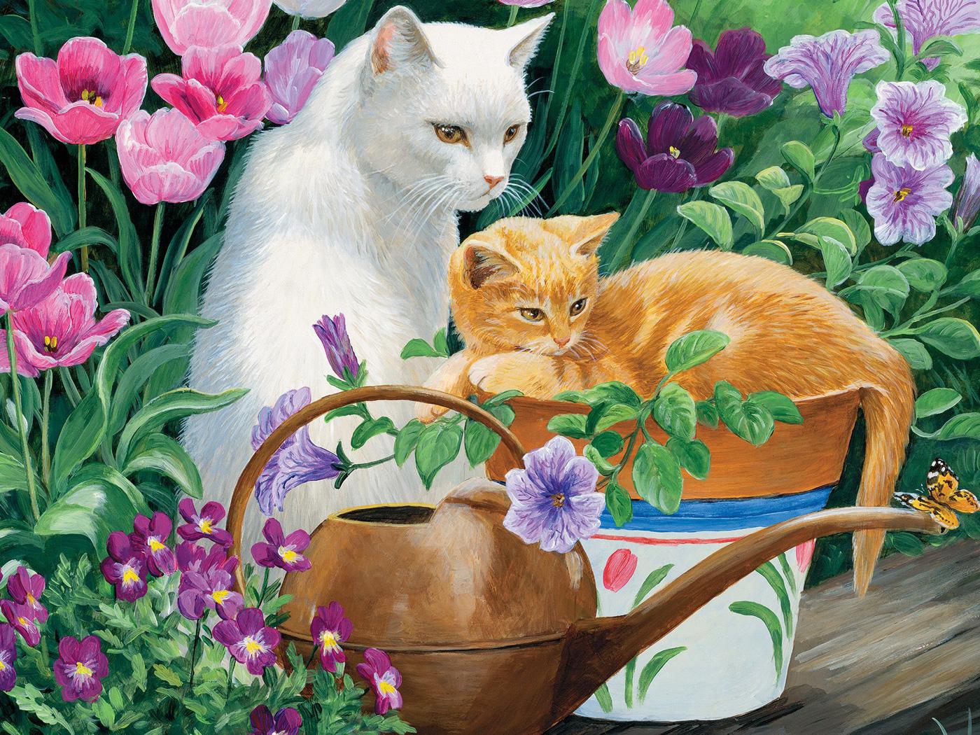 Cat Picnic Cats Jigsaw Puzzle