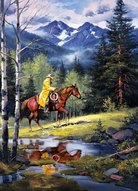 Western Spirit - Springtime in the Rockies Horses Jigsaw Puzzle