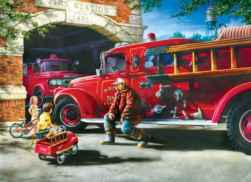 Childhood Dreams - Firehouse Cars Jigsaw Puzzle