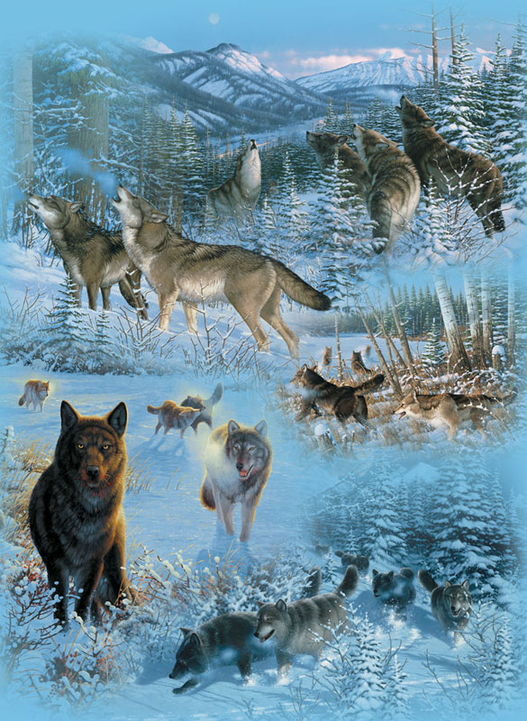Wolf Cameos Jigsaw Puzzle