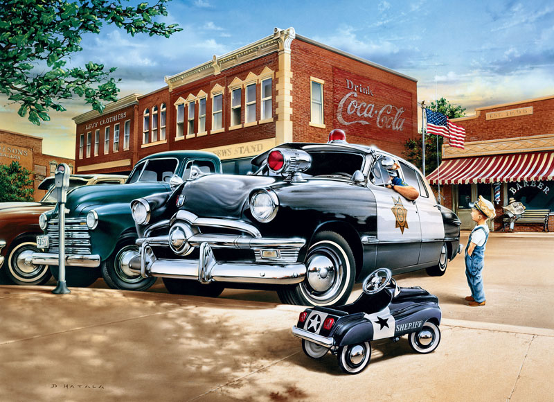 Childhood Dreams - Policeman Cars Jigsaw Puzzle