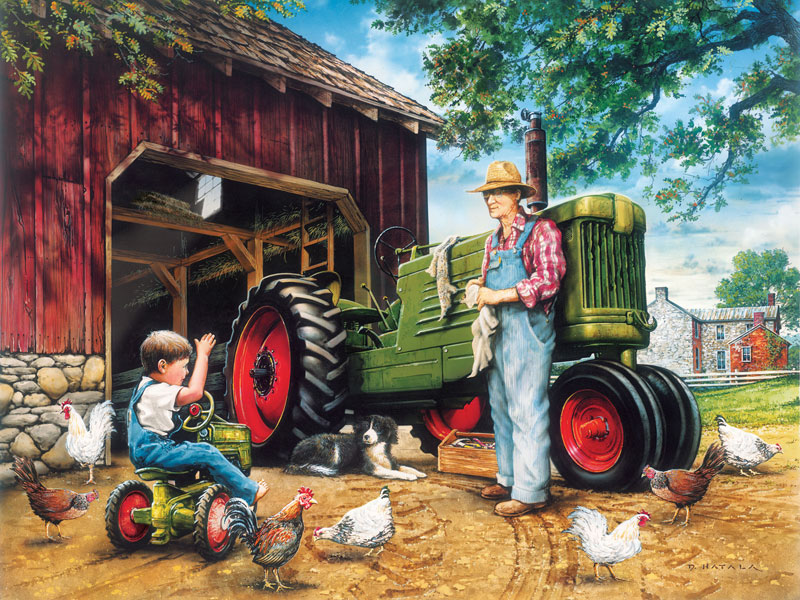 Childhood Dreams - Barnyard Farm Jigsaw Puzzle