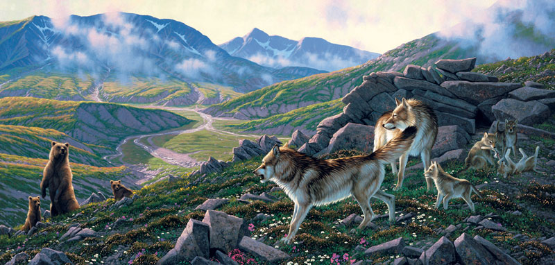 Family Wolf Pack Bears Jigsaw Puzzle