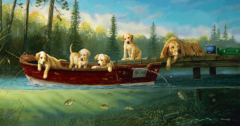 Fishing Lessons - Scratch and Dent Dogs Jigsaw Puzzle