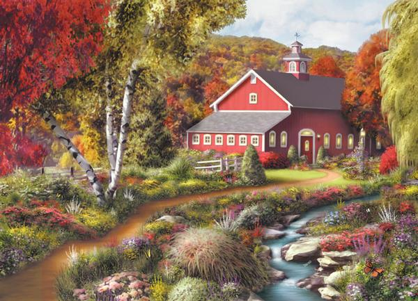 Farm Country - Coming Home Farm Jigsaw Puzzle