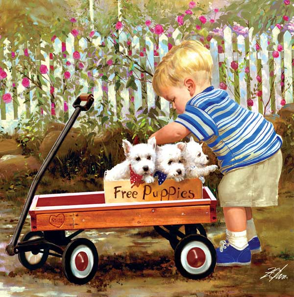 Joys of Childhood - Puppy Love Dogs Jigsaw Puzzle