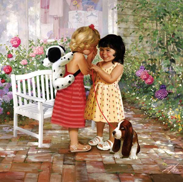 Joys of Childhood - Sharing Secrets Garden Jigsaw Puzzle