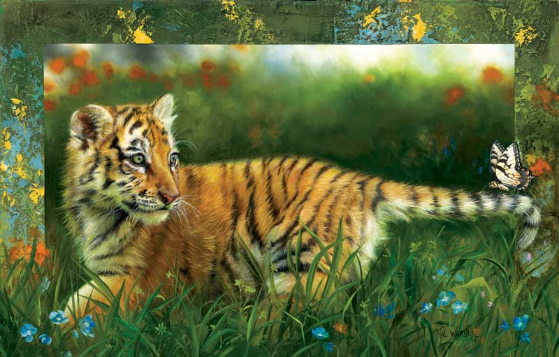 Tiger by the Tail Jungle Animals Jigsaw Puzzle