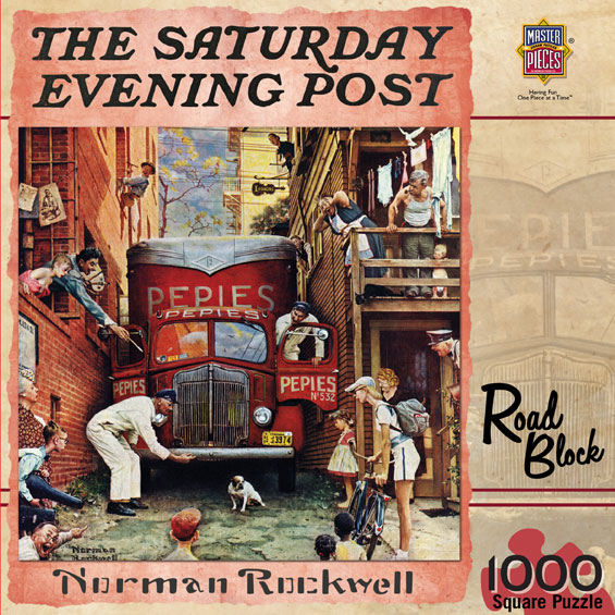 Road Block (Saturday Evening Post) People Jigsaw Puzzle