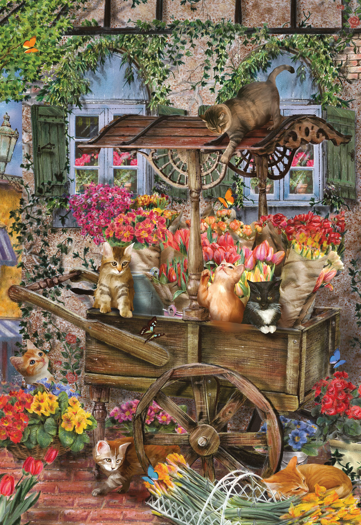 The Flower Cart Cats Jigsaw Puzzle