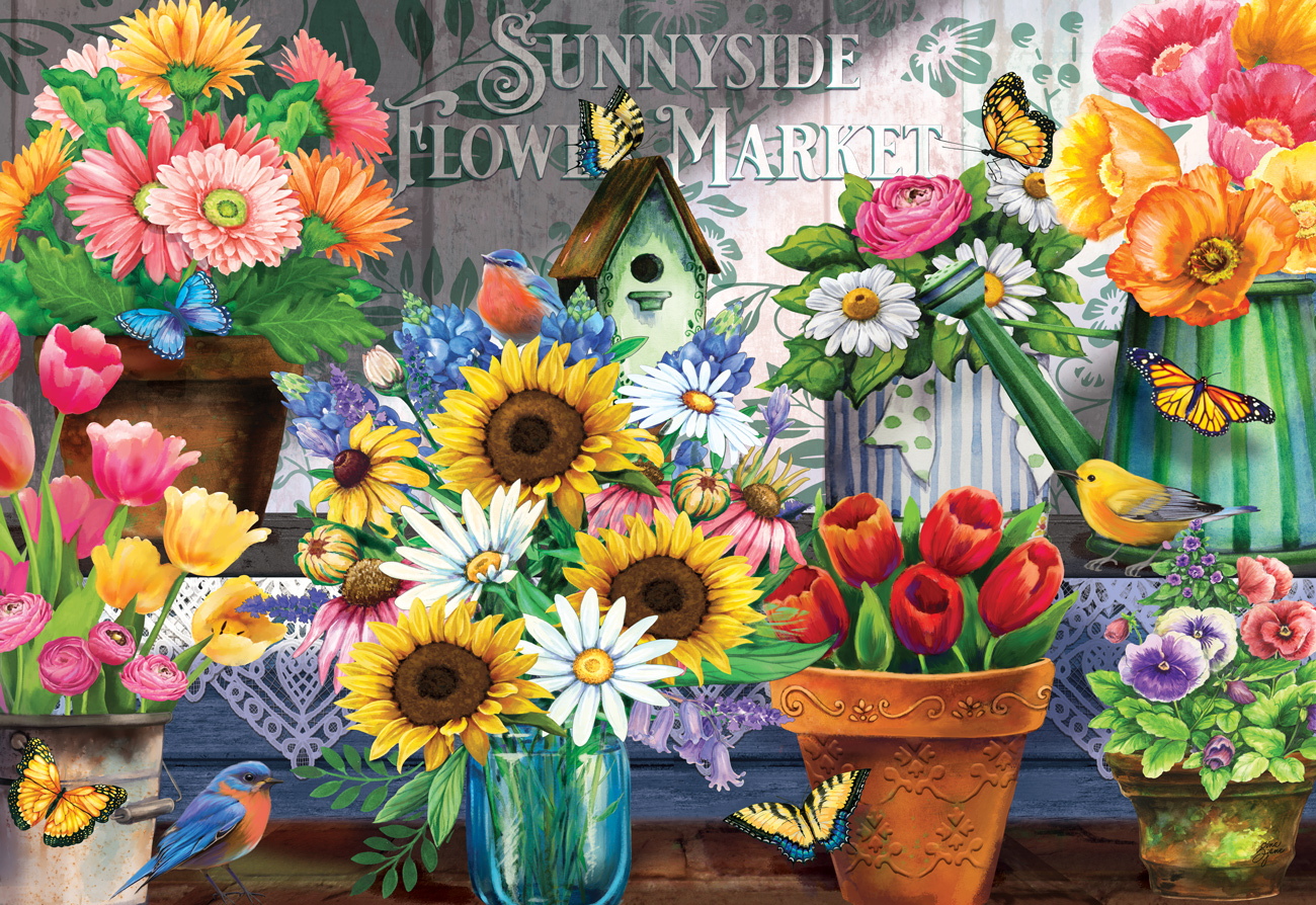 Sunnyside Flower Market Butterflies and Insects Jigsaw Puzzle
