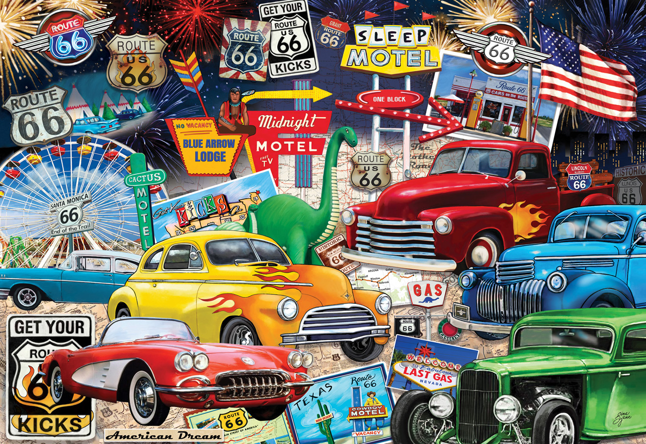 Route 66 Vintage Cars and Trucks Travel Jigsaw Puzzle