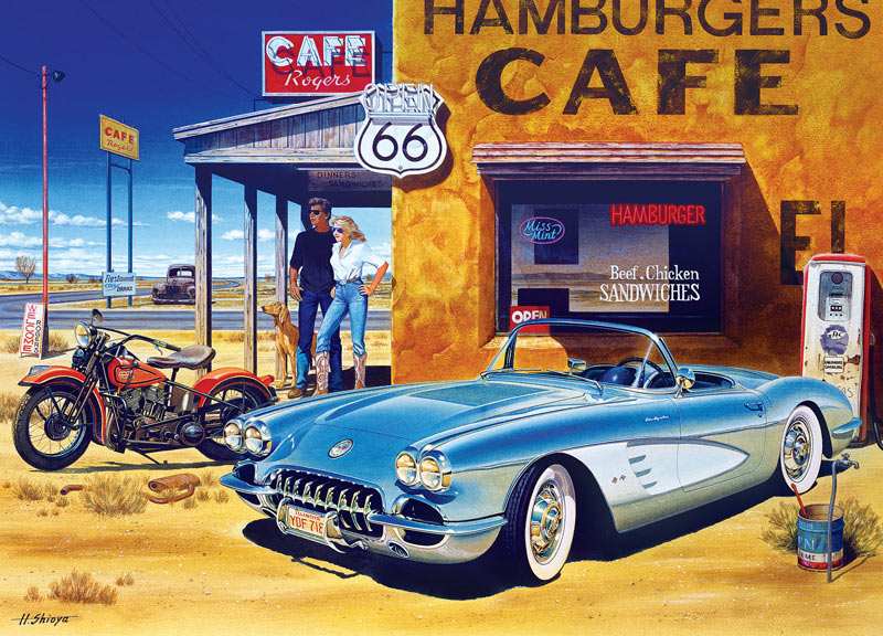 Route 66 Caf 233 Cruisin Jigsaw Puzzle Puzzlewarehouse Com
