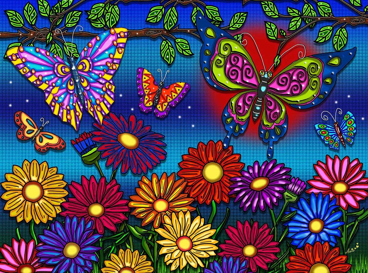 Flowers And Butterflies Butterflies and Insects Jigsaw Puzzle