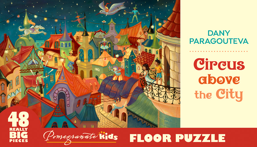 Circus Above The City Cartoons Jigsaw Puzzle