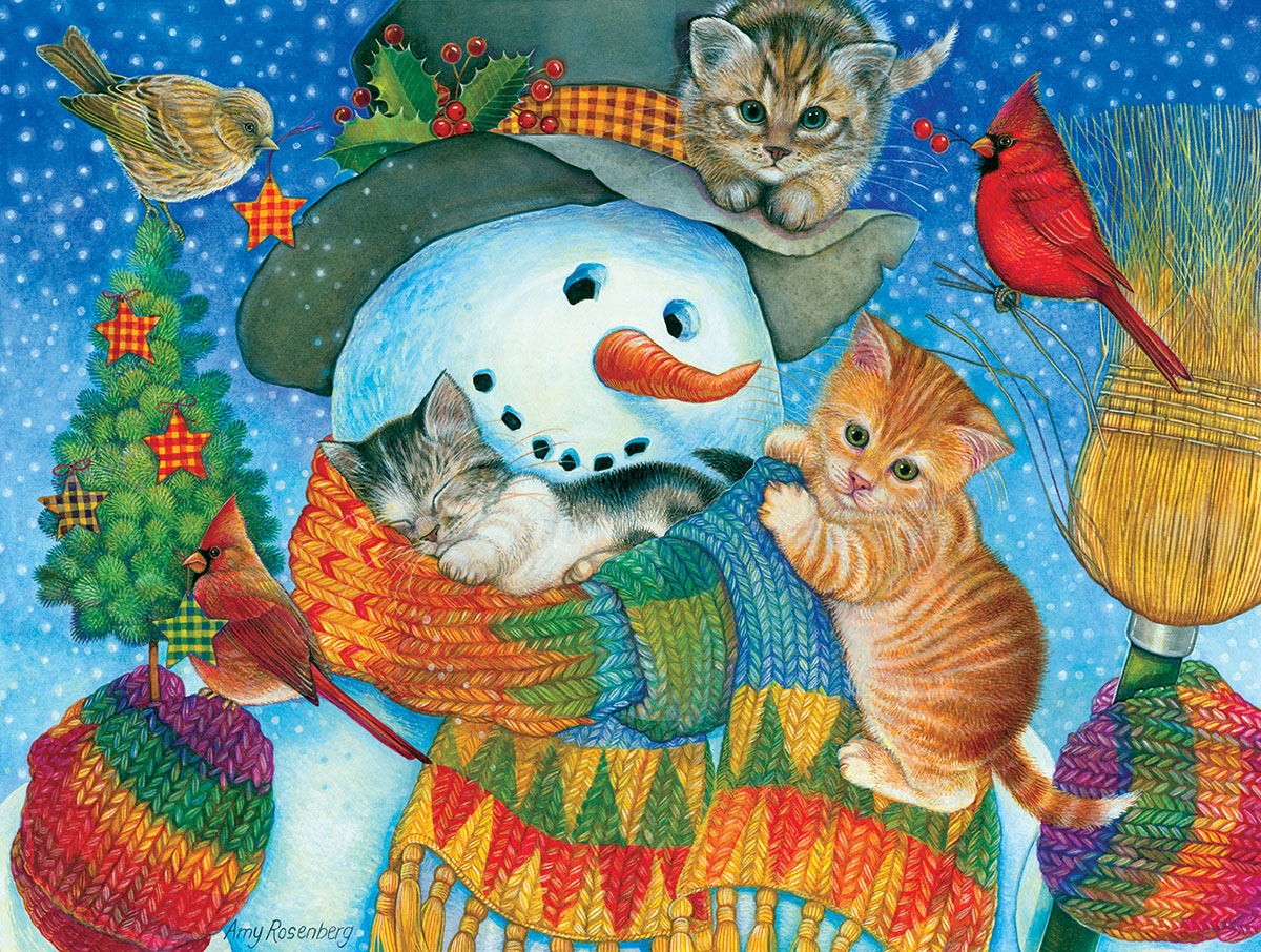Snowman Cuddles Cats Jigsaw Puzzle