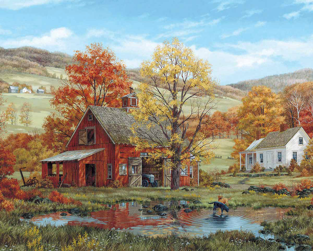 Friends in Autumn Countryside Jigsaw Puzzle