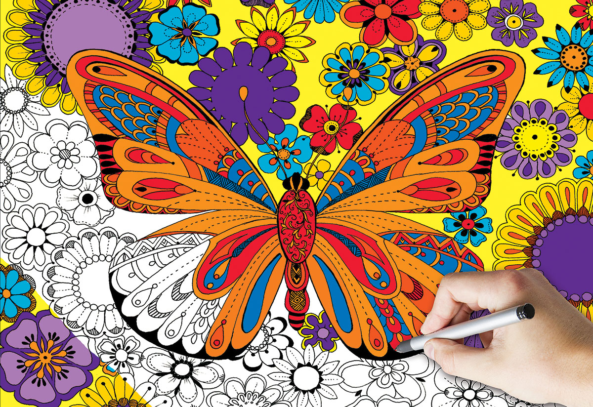 June Butterfly Coloring Puzzle Butterflies and Insects Jigsaw Puzzle