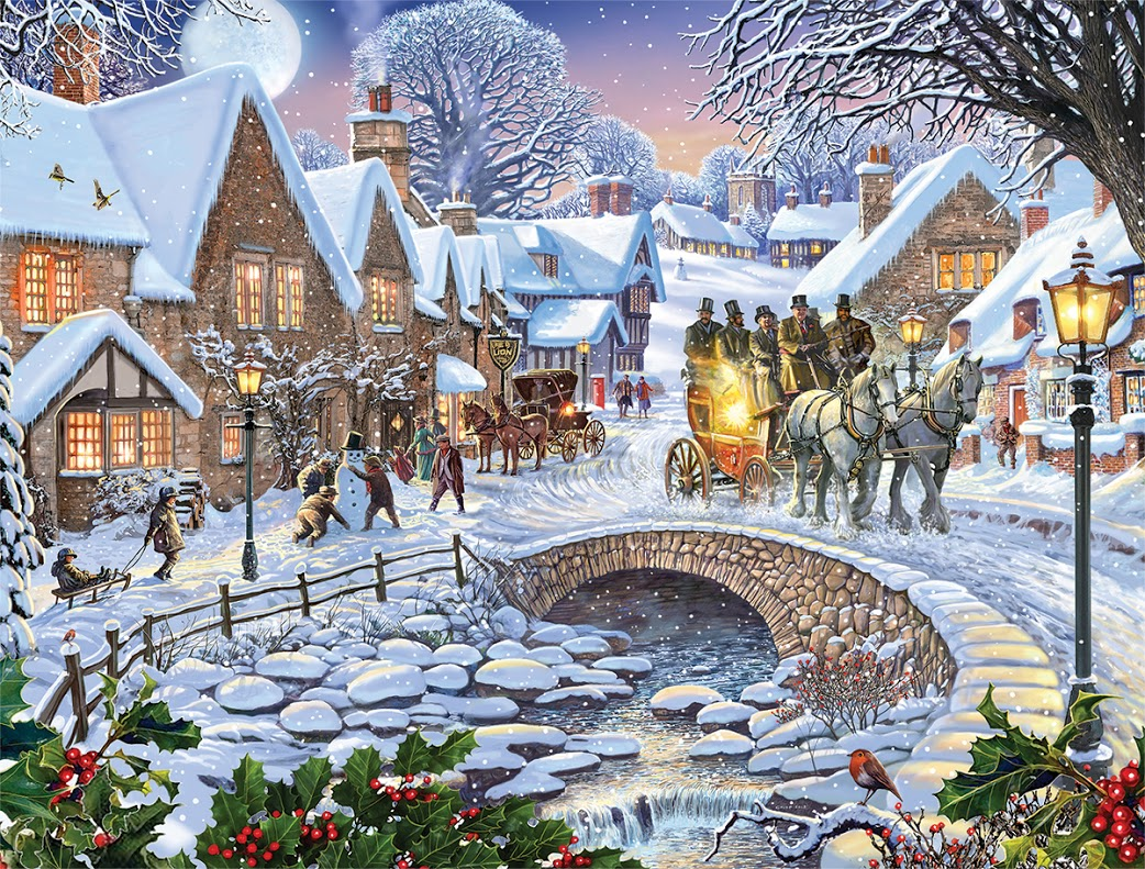 Old Fashioned House Winter Village Jigsaw Puzzle Puzzlewarehouse Com