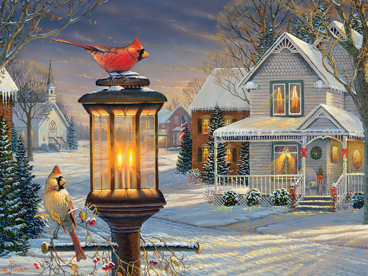 Cardinals In Winter Jigsaw Puzzle Puzzlewarehouse Com