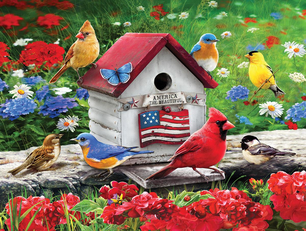 Patriotic Birdhouse Birds Jigsaw Puzzle