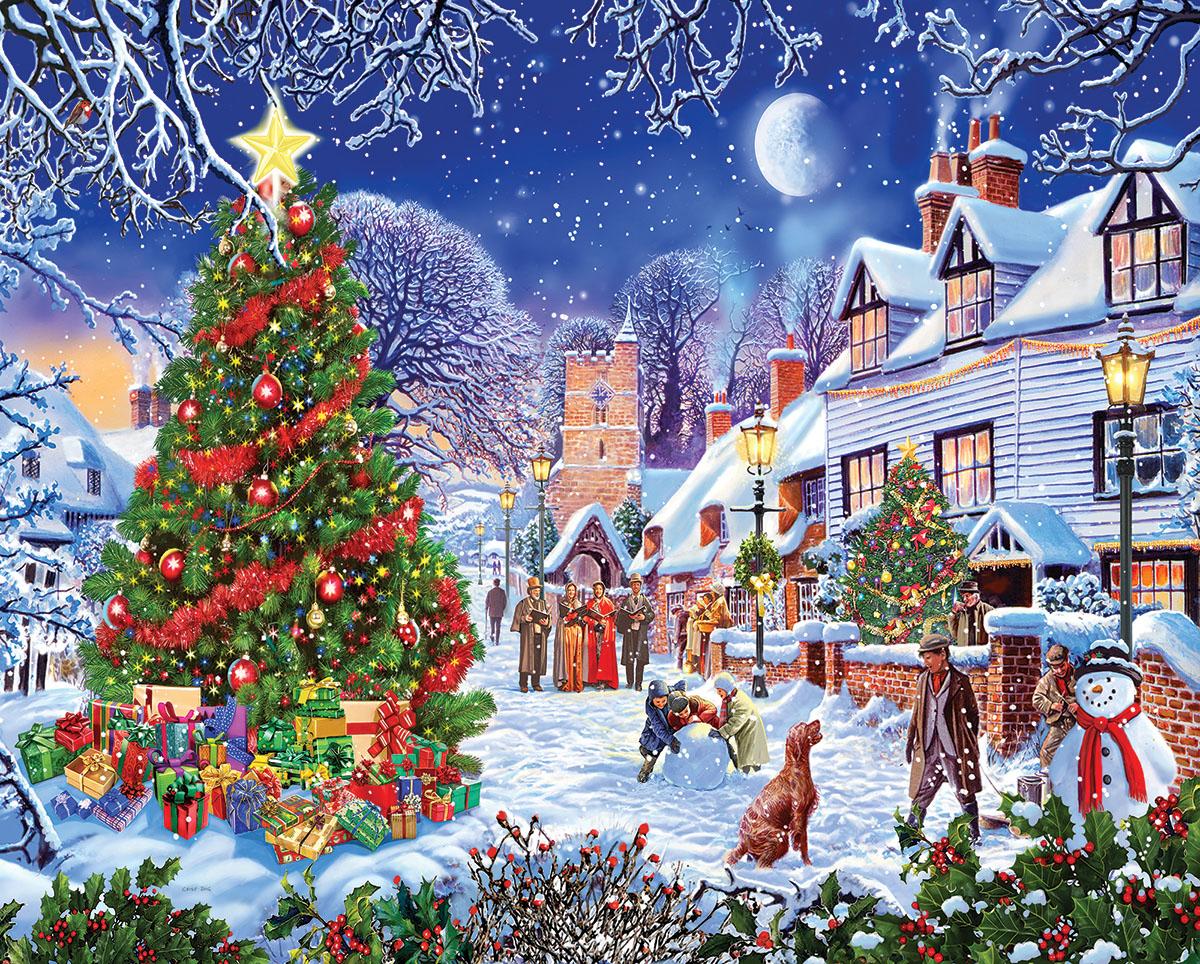 Village Christmas Tree Christmas Jigsaw Puzzle